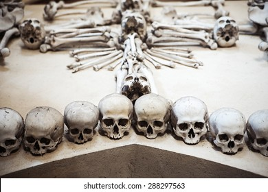 Human remains in a memorial of death