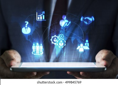Human resource concept on tablet with hologram