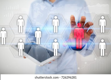 Human resource management, HR, recruitment, leadership and teambuilding. Business and technology concept.