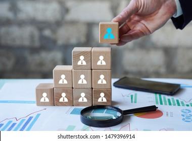 Human resource management and recruitment business concept, business growth statistics chart.