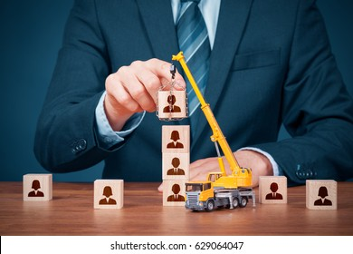 Human resources build team, hire and recruitment concepts. Recruiter complete team by leader (CEO).