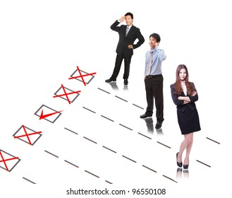 Human Resources concept: Check mark to find and choose the best company employee in selection box