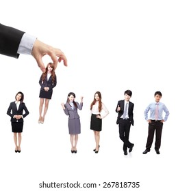 Human Resources concept: choosing the perfect candidate (business man) for the job, model are asian people