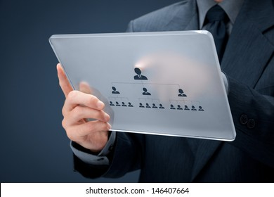 Human resources and corporate hierarchy concept - recruiter complete team by one leader person (CEO) represented by icon on futuristic glass tablet.
