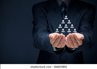 Human resources, corporate hierarchy and multilevel marketing concept.