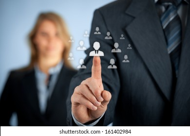 Human resources and CRM concept - officer and supervisor looking for employee represented by icon.