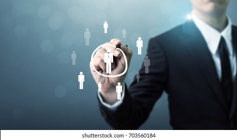 Human resources, CRM and recruitment business concept