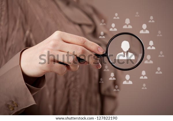 Human resources, CRM and social media concept - officer looking for employee represented by icon. Gender discrimination in employees selection.