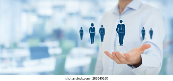 Human resources, customer care, employment agency and marketing segmentation concepts. Businessman or personnel and icons representing group of people. Wide banner composition with office.