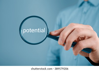 Human resources is focused on potential of employee. Coach want to motivate his client and looking for his potential. Businessman is looking for market potential.