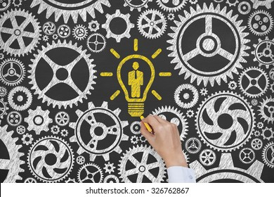Human Resources and Gear Concept on Blackboard
