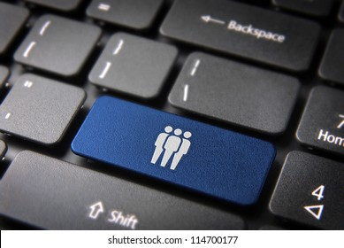 Human resources key with network team icon on laptop keyboard. Included clipping path, so you can easily edit it.
