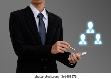 Human resources management business man select employee.