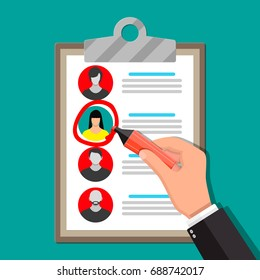 Human resources management concept, searching professional staff, work. Found right resume. Clipboard and hand with marker. illustration in flat style