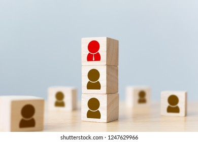 Human resources management and recruitment business build team concept. Wooden cube block on top with icon