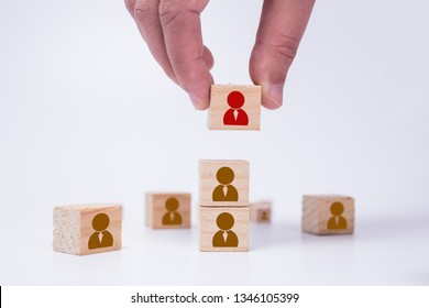 Human resources management and recruitment business build team concept. Hand putting wood cube block on top with worker icon