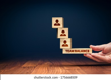Human resources management team balance concept. Manager balance optimal team for the best results of the whole team.