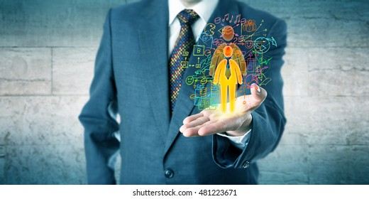 Human resources manager is showing a candidate with growth potential in his open left palm of hand. Concept for personal development, professional coaching, talent acquisition and headhunting.