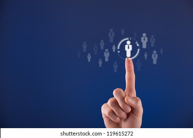 Human resources officer choose employee standing out of the crowd. Select team leader concept. Male hand click on man icon. Negative space in left side, blue background.