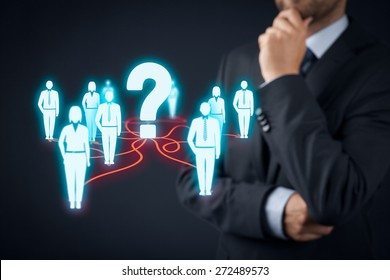 Human resources officer think about employees. FAQ and customer care concept.