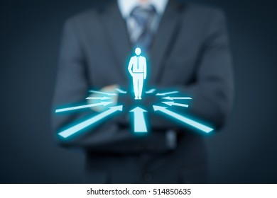 Human resources officer think about employee or team leader (CEO). Individual customer marketing and personalization concept.