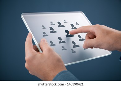 Human resources, personal audit, CRM, and assessment center concept - recruiter select employee (or team leader) represented by icon on futuristic glass tablet.