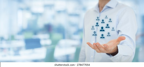 Human resources pool, customer care, care for employees, labor union, life insurance, employment agency and marketing segmentation concepts. Wide banner composition, office in background.
