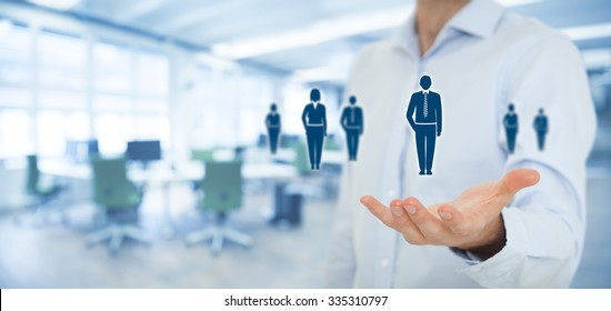 Human resources pool, customer care, care for employees, labor union, employment agency and marketing segmentation concepts. Wide banner composition with office in background.