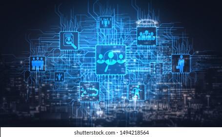 Recrutement des ressources humaines et concept de réseautage des personnes. Interface graphique moderne montrant l'embauche d'employés professionnels et le chasseur de tête à la recherche d'un candidat d'entrevue pour la main-d'oeuvre future.