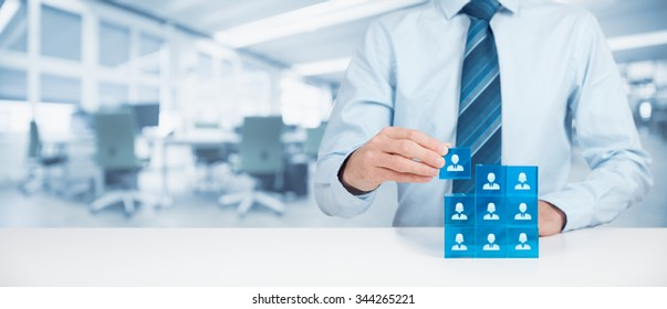 Human resources, social networking, assessment center concept, personal audit or CRM concept - recruiter complete team by one person. Wide banner composition with office in background.