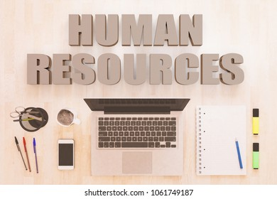 Human Resources - text concept with notebook computer, smartphone, notebook and pens on wooden desktop. 3D render illustration.