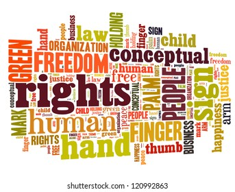 Human rights info-text graphics and arrangement concept (word clouds)