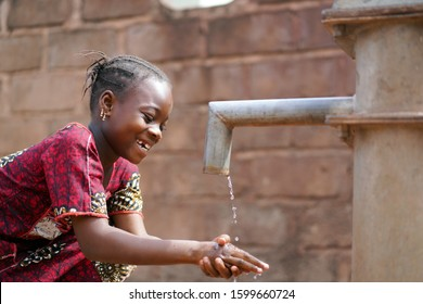 Human Rights Issue, Clean Fresh Water Washing Hands African Black Native Girl