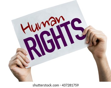 Human Rights placard isolated on white background