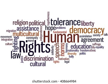 Human Rights, word cloud concept on white background.