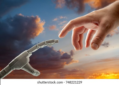 Human and Robot concept with a modern spin on The Creation of Adam by Michelangelo, where instead of God giving life to Adam, a human gives life to his creation a robot