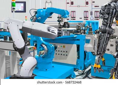 Human robot control automatic robotic hand machine tool at industrial manufacture factory, Technology robotic concept