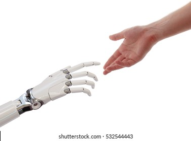 Human and Robot Hands Reaching Artificial Intelligence Partnership Concept 3d Illustration Isolated on White Background