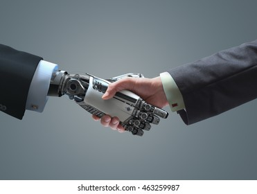 Human and robot handshake business relationship symbol
