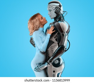 Human and robot relationship concept, attractive blue-eyed blonde wearing white bodysuit, gently embracing a male cyborg, looking into his eyes against bright background