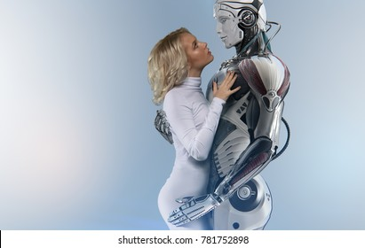 Human and robot relationship concept, attractive blue-eyed blonde wearing white bodysuit, gently embracing a male cyborg, mixed media