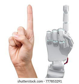 Human and robotic hand together shows forefinger.