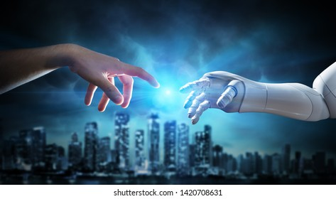 Human And Robotic Hand Touching Fingers - Creation Of Artificial Intelligence