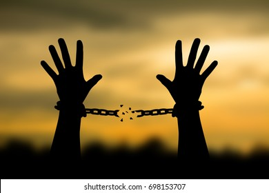 Human shadow image of human hand chain is absent. Get free
