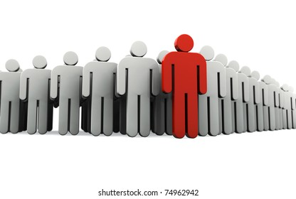 Human silhouette leading group of people