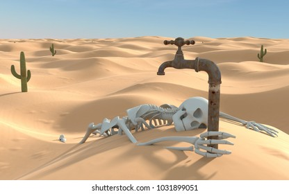 Human skeleton in the desert. High quality 3d render.