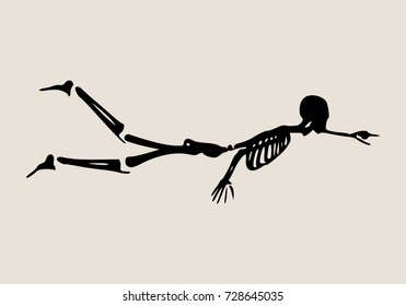 Human skeleton flying.Halloween party design template