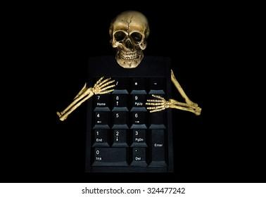 Human skeleton with number keyboard