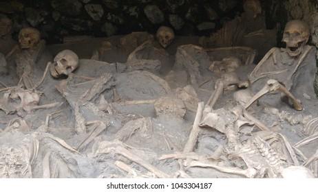 Human skeletons victims of Vesuvius volcano in Pompeii (Italy)