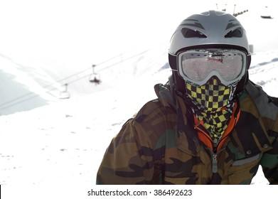 Human skier portrait